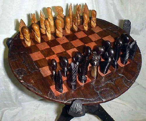 ... Chess set u0026 Table (Malawi) & African Chess Set - Game Top Quality hand carved pieces and boards