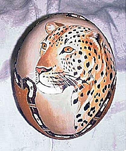 Hand Painted Ostrich Egg Art